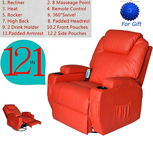 Electric Massage Chair Recliner Sofa Ergonomic Leather Vibrating Heated w/Remote