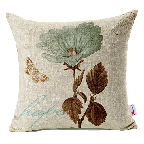 Hope Throw Pillow - Monkeysell Lotus Leaf Butterfly Flowers Hope Pattern Cotton Linen Throw Pillow Case Cushion Cover Home Sofa Decorative 18 X 18 Inch (S042A1)