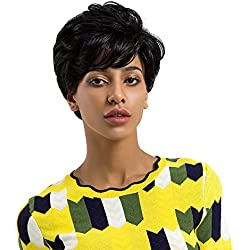 Suppion Women Fashion Ladies Real Natural Short Straight Hair Wigs Cosplay Full Wig (Black)