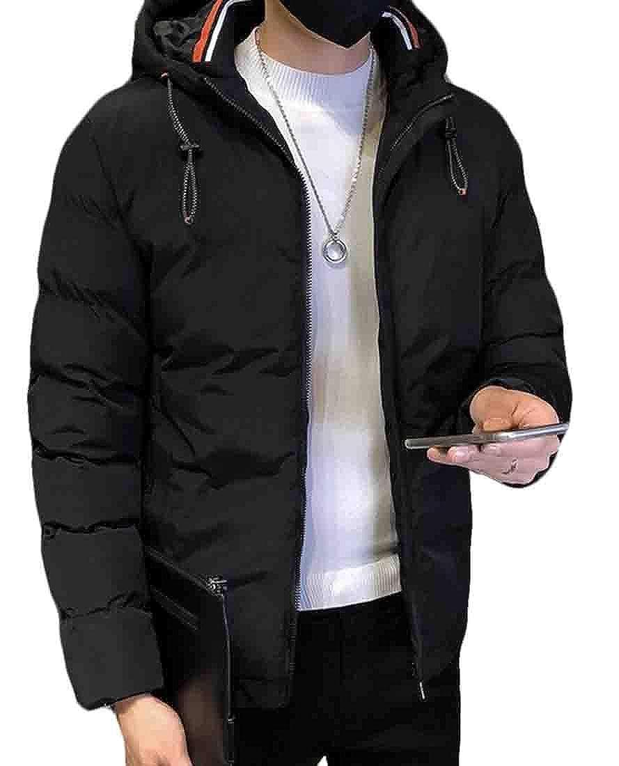 UUYUK Men Plus Size Hoodie Slim Warm Thicken Winter Quilted Jacket Outerwear
