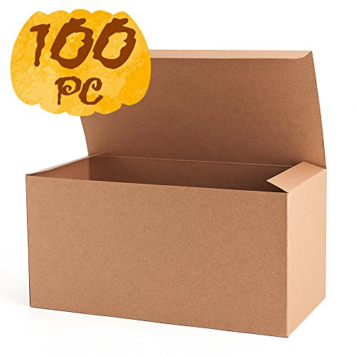 MESHA Recycled Gift Boxes 9x4.5x4.5 Inch Brown Cardboard Boxes 100PCS Kraft Favor Boxes for Party, Wedding, Gift