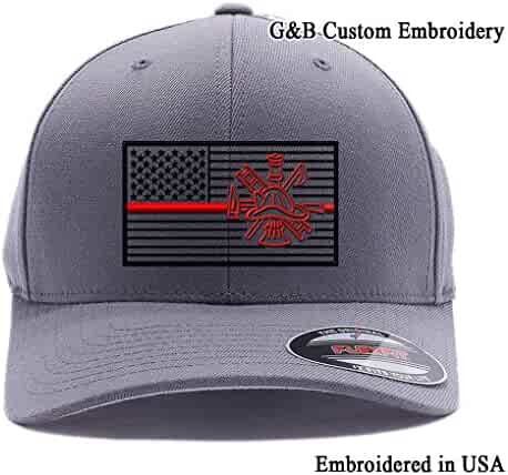 3e12a2dc78739 Thin Red Line Firefighter Flag. Embroidered. 6477 and 6277 Flexfit Wooly  Combed Twill Cap
