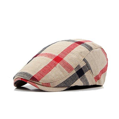 (Men's Unisex Cotton Flat Snap Cap Ivy Gatsby Irish Newsboy Cabbie Driving Hunting Hat Adjustable (Tartan Beige))