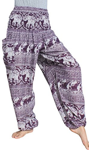 Full Funk Smocked Waist Aladdin Rayon Pants Paisley Elephant Mosaic Print, Medium, Violet (Pant Print Paisley)