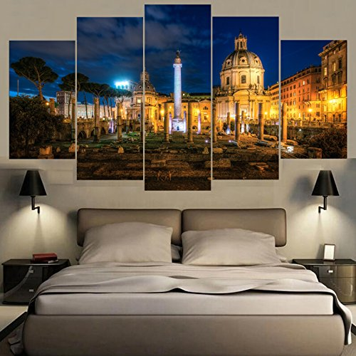 [LARGE] Premium Quality Canvas Printed Wall Art Poster 5 Pieces / 5 Pannel Wall Decor Italy Painting, Home Decor Pictures - With Wooden Frame