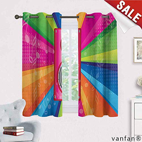 Big datastore Vintage Rainbow Curtain Set of 2,Discotheque Pop Party of The 60s 70s Theme Musical Notes and Pink Stereo Nature Decor,Multicolor W63 x L72