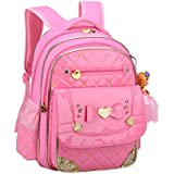 Bookbag for Girls,Gazigo Waterproof Kids Backpack with bows Back to School Gifts (Pink Diamond Backpack, Large)