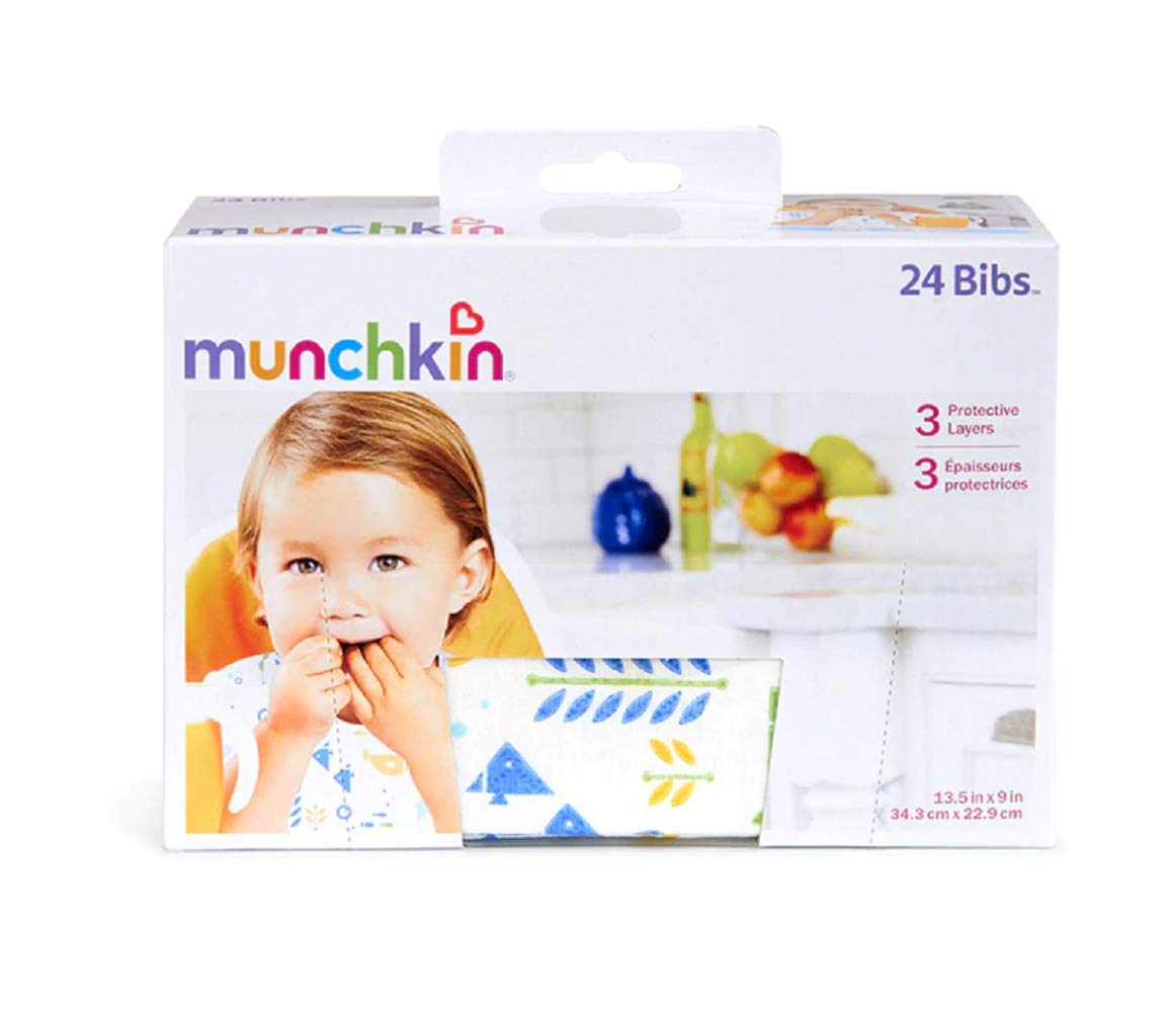Munchkin Disposable Bibs - 24 Bibs Per Pack (3 Packs)