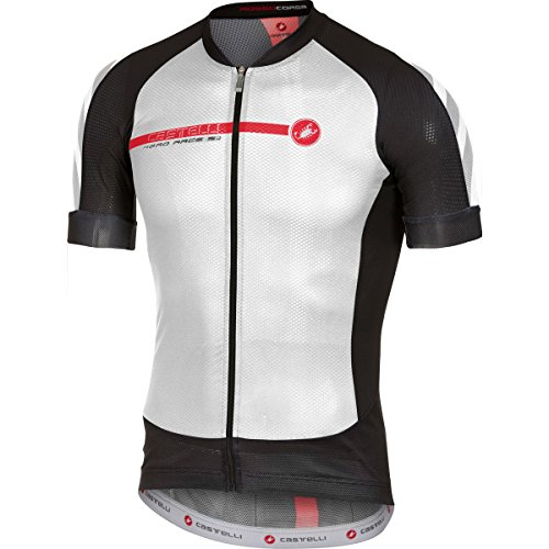 Castelli Aero Race 5.1 Full Zip Jersey - Men's White/Black/Red, - Jersey Cycling Podium