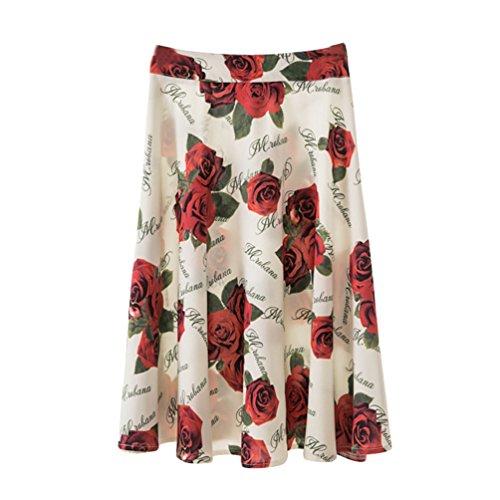 Yuanu Femme t Doux Confortable Grande Taille Skirt Roses Impression Retour Zipper Midi Jupe Plisse Comme Image