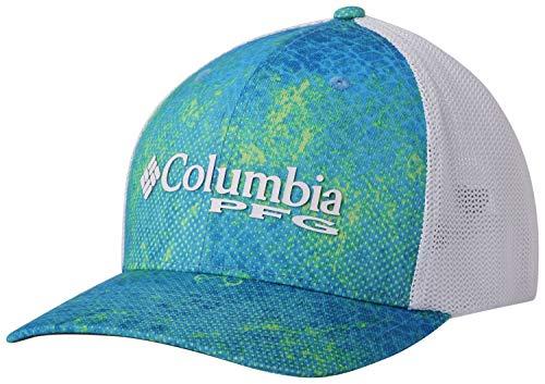 Columbia Unisex PFG Camo Mesh Ball Cap, Hyper Blue Realtree Mako, Large/X-Large