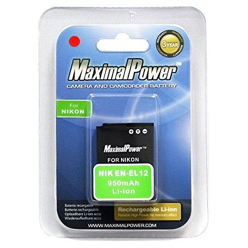 Maximalpower EN-EL12 li-ion battery for Nikon Coolpix S9300, S9100, S8100, S6100, P300, S6000, S8000, S8200, AW100, S70, S6200, S1100pj, S630, S1000pj, S610, S1200pj, S640, S710, S620, S610c, S6150, Fully Decoded, - S8000 Battery Nikon Coolpix