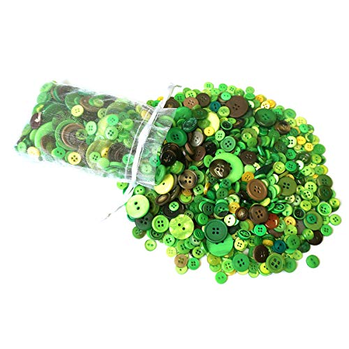 levylisa Green Buttons - Bulk Green Button - Bright Green Sewing Crafting - Assorted Green Plastic Buttons - Green Flash Pack of Green Buttons for Arts, Crafts, Sewing and Decoration