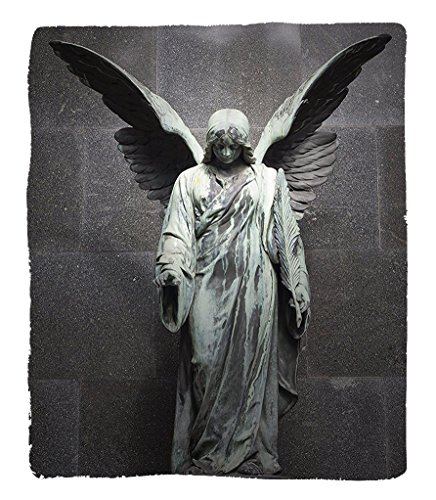 Chaoran 1 Fleece Blanket on Amazon Super Silky Soft All Season Super Plush Sculptures Decor Collectionculpture of an Angel with Dark Background Catholic Belief Century Old Artwork Pattern Fabric et Di by chaoran