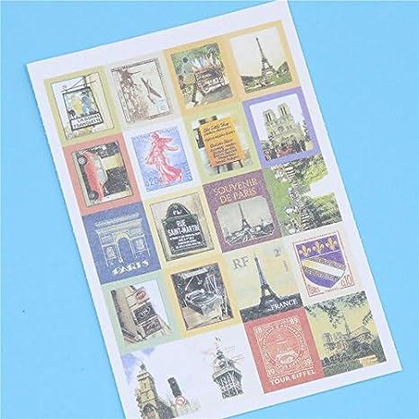 NJPOWER - Paquete de 4 pegatinas de sellos plegables retro ...