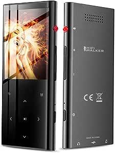 HIFI WALKER MP4 Player, con Bluetooth, Hi-Fi Sin Pérdida de Sonido Reproductor de Música con Radio FM, Grabadora de Voz, Expandible hasta 64GB con Auricular, Negro