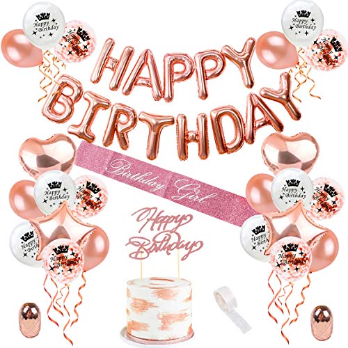Rose Gold Birthday Decorations Balloons - Happy Birthday Balloon Banner,16 18 21 30 40 50 Rose Gold Birthday Party Decorations for Women Girls by QIFU (Rose Gold Balloons)