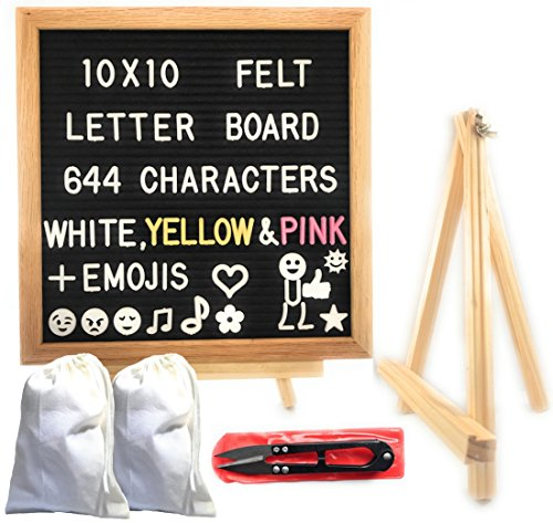 Black Felt Letter Board 10x10 Inches Oak Frame Changeable Letter Board Includes 644 White, Yellow, Pink Characters With New Emojis Bonus: 2 Canvas Bags, Wooden Stand, Scissors & Wall Mount ()