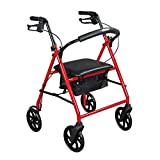 Drive Medical Steel Walker Rollator with 8 Inch Wheels, Red
