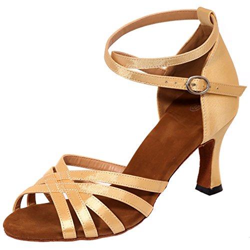 Loslandifen Donna Open Toe Criss Cross Strap Scarpe Da Ballo Tessere Stile Salsa Tango Sandali Latini Oro-a