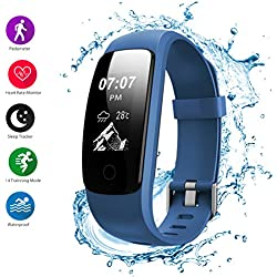 Helthyband Fitness Tracker, H107 Waterproof Activity Tracker Smart Watch Wristband with Heart Rate Monitor, Pedometer, Sleep Tracker, Calorie Counter, Multiple sport mode for Kids Men Women (blue)