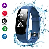 Fitness Tracker - Helthyband H107P Bluetooth Smart Bracelet - Activity Tracker with14 Sport Mode - Pedometer - Heart Rate Monitor - Sleep Monitor - IP67 Waterproof for IOS and Android Smartphone (Navy)