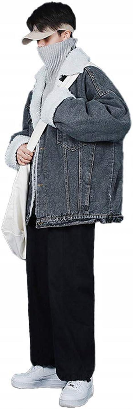 [YIMING] メンズ カウボーイコート 子羊の毛 加絨 厚手 綿服 ゆったり 折り襟 シングルボタン 青春 ファッション オーバーサイズ