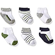 Yoga Sprout Baby No Show Socks, 6 Pack, Navy/Olive, 6-12 Months