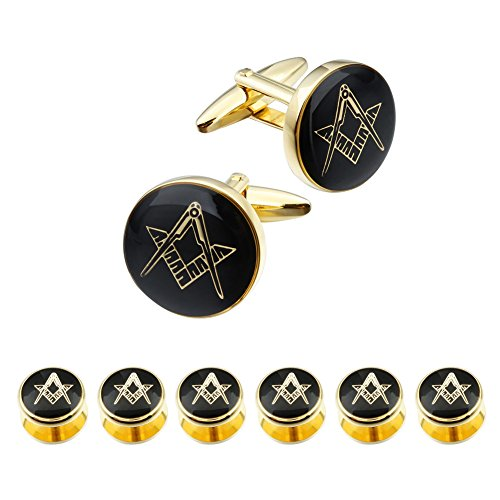 HAWSON Freemason Cufflinks and Tuxedo Shirt Studs Set - Men' Wedding Accessories by HAWSON