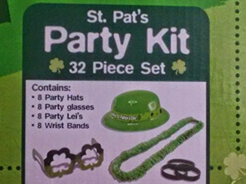 Town 3 Piece Costumes (St. Patrick's Party Favor Set Ages 3+ St. Pat's Green Party Kit 32 Piece Includes 8 Hats, 8 Glasses, 8 Lei's, 8 Wrist Bands)