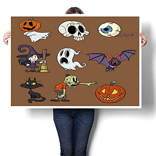 SCOCICI1588 Canvas Prints Artwork Cartoon Halloween Elements in Separate Layers for Easy Edit Oils,32