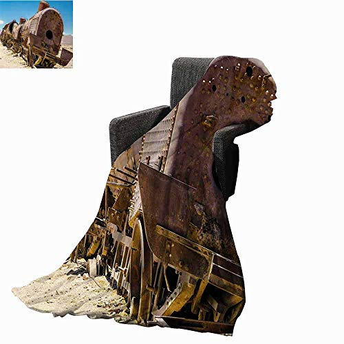 (Vintage Bed Blankets,Rusty Old Abandoned Steam Train Locomotive Cemetery Railroad Wreck Picture Print Printing Throw Blanket for Living Room (50