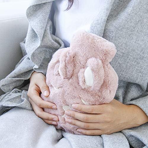 Symina Kleines PVC Wärmflasche Mit Bezug Wärmflasche Tier Handwärmer Mit Äußere Abdeckung Wärmflasche Wärmebeutel Für Schmerzlinderung Rutschhemmende, langlebige Isolierung