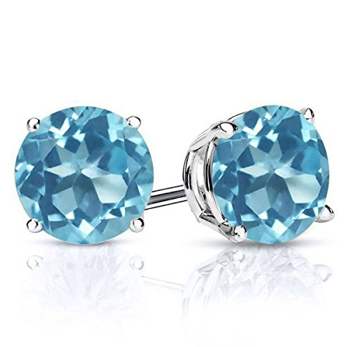 3.10 Ct Round 7MM Swiss Blue Topaz Gemstone Birthstone 925 Sterling Silver Stud Earrings