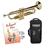 CASCHA Trumpet Fox Beginner Set including Bb Trumpet, Trumpet Fox Vol. 1, Accessories, Mouthpiece, Cleaning Cloth and Case, Gold