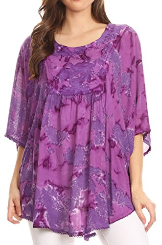 Sequin Tie Dye - Sakkas 16031 - Cleeo Long Wide Tie Dye Lace Embroidered Sequin Poncho Blouse Top Cover Up - Purple - OS