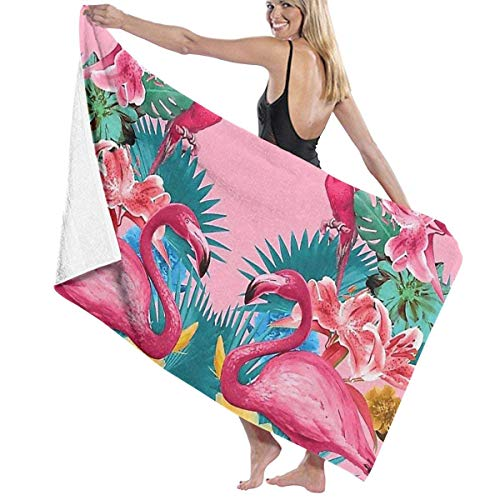 - Pink Flamingo Parrot Jungle Adult Microfiber Beach Towel Oversized 31x51 Inch Fast Dry Eco-Friendly Multipurpose Use Beach Blanket for Women Men