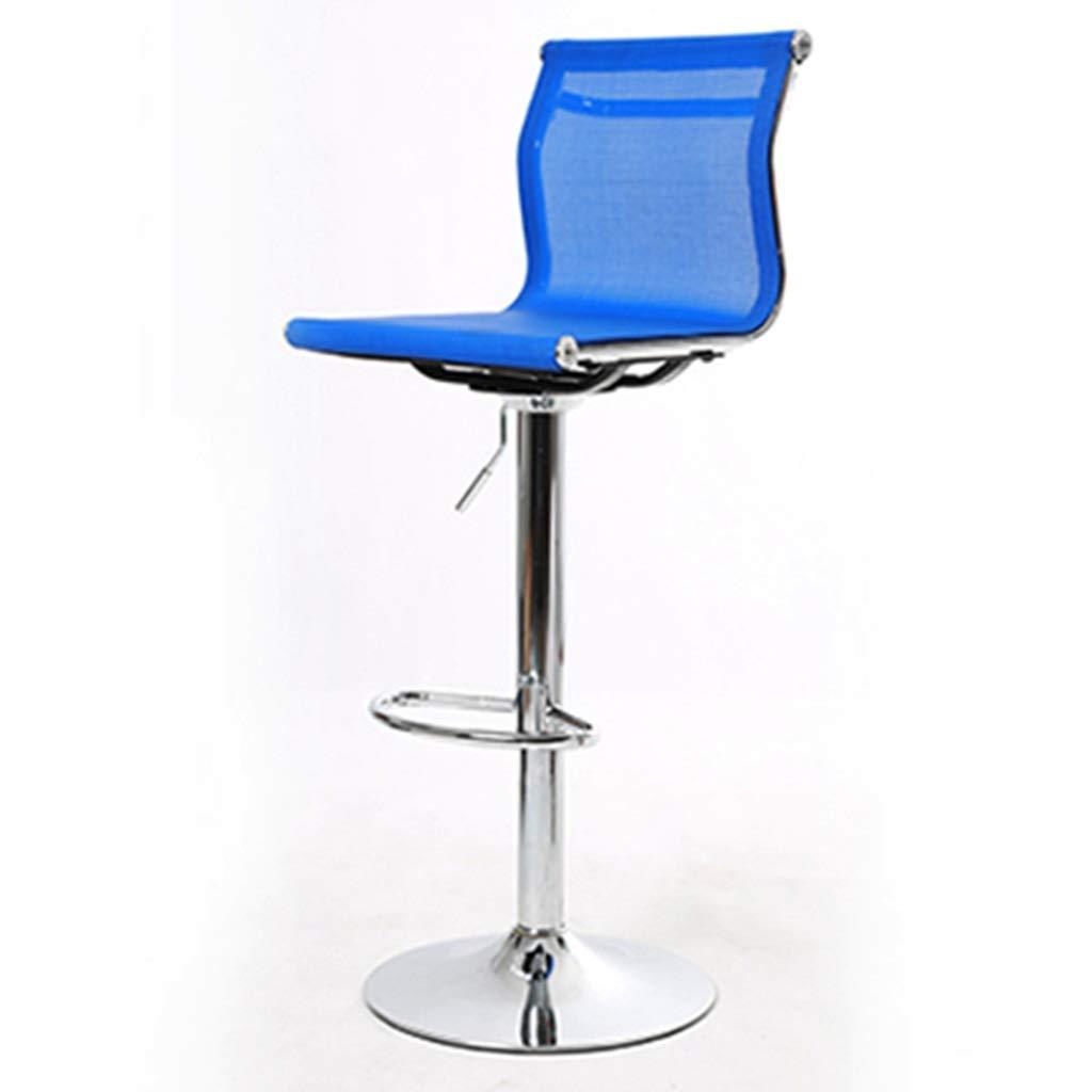 ポータブル ジュエリーバースツール、モール光学ショップ化粧ショップバースツールブックルームコンピュータデスクチェアメタルアジャスタブル回転式バースツール ハイチェア (Color : Blue)  Blue B07TYPBDBT