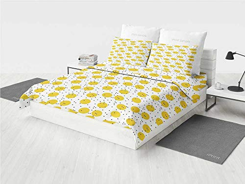 - Yellow and White Zoo Crib Bedding Set Minimalist Modern Geometric Big Circles Rounds and Dots Retro Decorative Printing Four Pieces of Bedding Set Marigold and Black