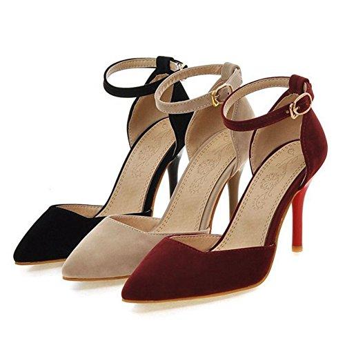 Materail Elegant für Court Velvet Tanzpartys und SJJH Damen Büro Schwarz Damen Schuhe EZqUEwa