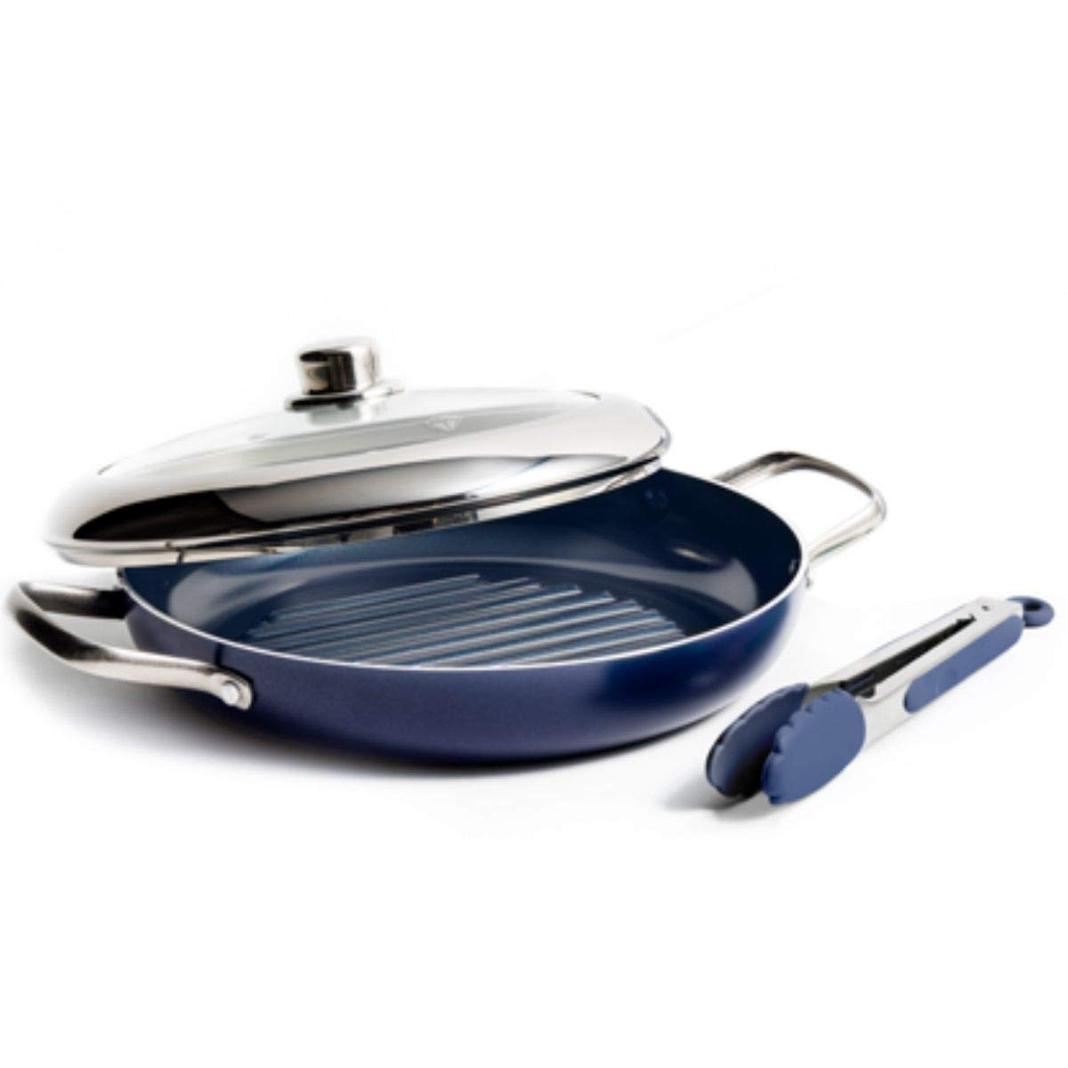 Blue Diamond Ceramic 11'' Grill Genie with Steaming Lid + BONUS Tongs