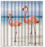 Rainy Pillow Beach Pink Flamingo Customized 180x180cm Unique Bath Fabric Waterproof Shower Curtain Bathroom Products Curtains
