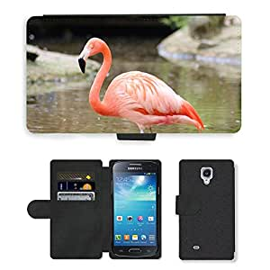 Super Stella Cell Phone Card Slot PU Leather Wallet Case // M00148677 Flamingo Animal Pink // Samsung Galaxy S4 Mini i9190