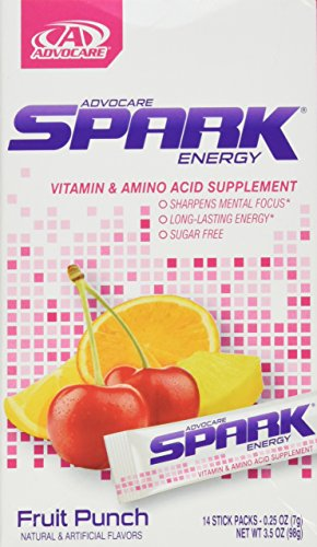AdvoCare Spark Energy Mix: Vitamin & Amino Acid Supplement (Fruit Punch) 14 Pouches, net wt. 3.5 oz