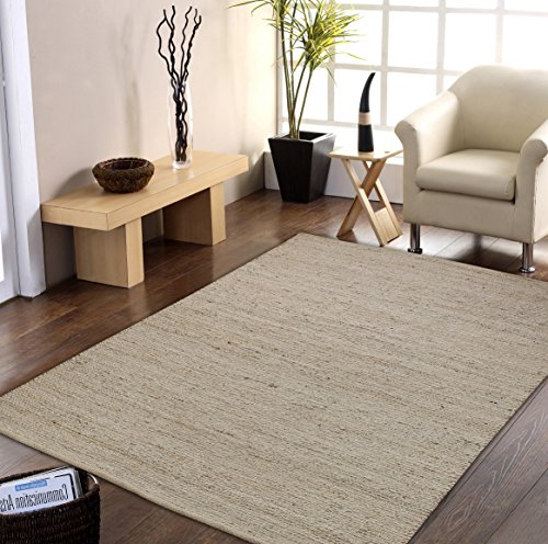 Shines LLC Natural Fiber Collection - (5'x8') 100% Natural Eco - Friendly Jute Pattern Accent Royal Hand Woven Beige Area Rugs (Cape Cod Braided Rugs)