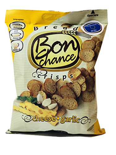 Crisps snacks Originaly baked rye-wheat bread Bon Chance Cheese and Garlic style flavor 4.2 oz size