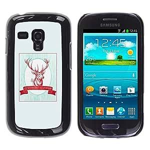 FECELL CITY // Duro Aluminio Pegatina PC Caso decorativo Funda Carcasa de Protección para Samsung Galaxy S3 MINI NOT REGULAR! I8190 I8190N // Quote Minimalist Christmas Hunting