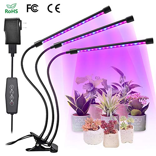 LED Grow Light for Indoor Plants,JUZIHAO 27W 54 LED Auto ON/Off Timing Automatic Work and 6 Dimming,3 Switch Modes Red and Blue Spectrum Grow Lamp Gooseneck Growing lamp for House Garden Hydroponics