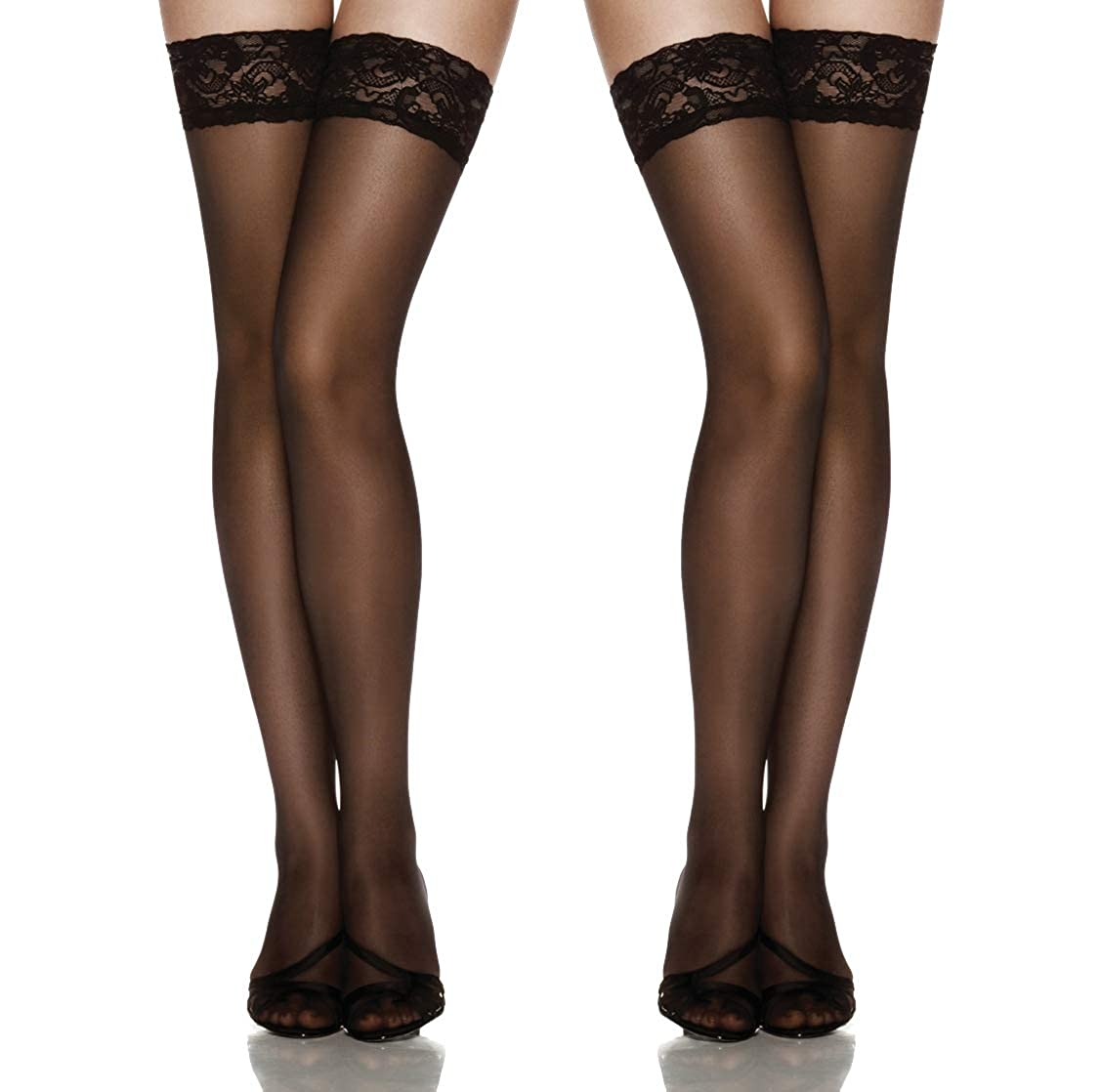 c2440e81b Thigh High Stockings Silicone Stay Up Tights Lace Top Semi Sheer Pantyhose  Update Size at Amazon Women s Clothing store