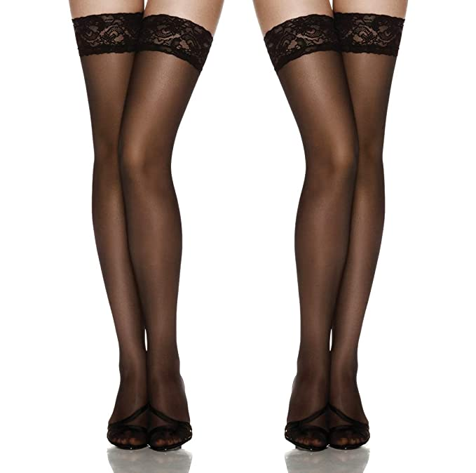 b9288b36b53ab Image Unavailable. Image not available for. Color: Thigh High Stockings  Silicone Stay Up Tights Lace Top ...